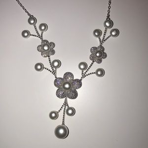 JTV Pearl & White Cubic Zirconia Floral Necklace